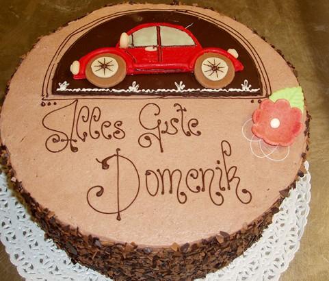 Schokotorte mit Auto Bäckerei Burgauner
